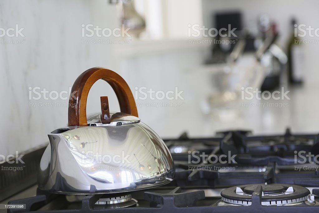 Stainless Steel Kettle on Stove royalty-free stock photo