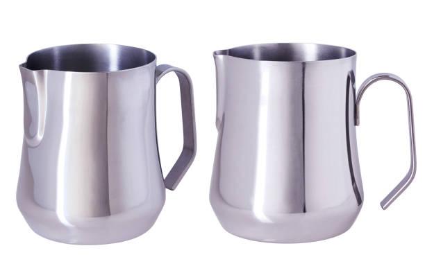 stainless steel milk pitcher - argento metallo caffettiera foto e immagini stock