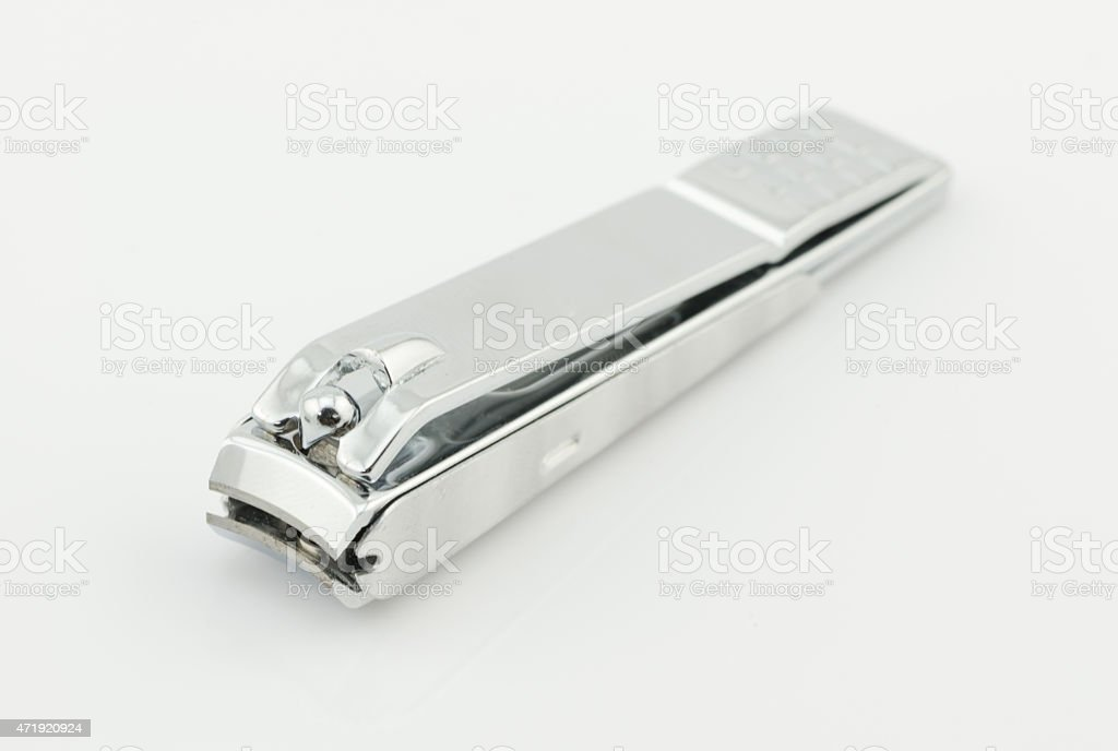 stainless steel nail clippers isolated on white background stock photo