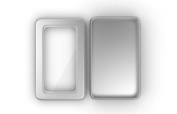 edelstahl oder zinn glänzend silberne metallbox behälter mit fenster deckel isoliert auf weißem hintergrund für das mock-up und packaging design. 3d render-illustration. - blech stock-fotos und bilder