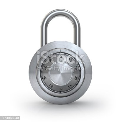 3d lock isolated on white background.