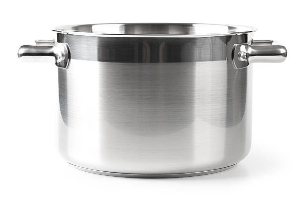 stainless steel pan - kookgerei stockfoto's en -beelden