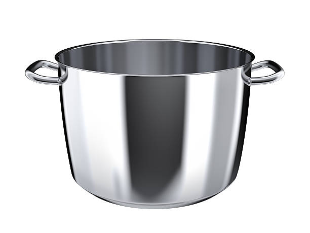 Stainless steel pan without lid stock photo