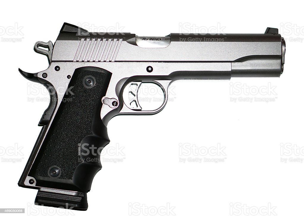Stainless Steel Pistol Hand Gun 1911 45 ACP stock photo