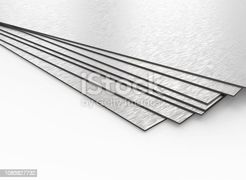 Stainless steel plates on white