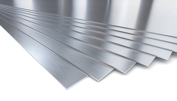 Stainless steel plates on white stock photo
