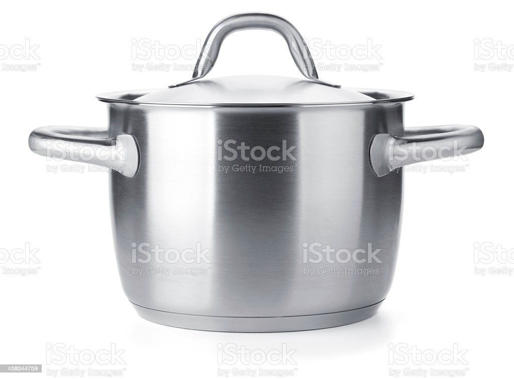 Stainless steel pot stock photo