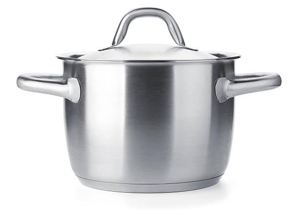 stainless steel pot - steelpan pan stockfoto's en -beelden