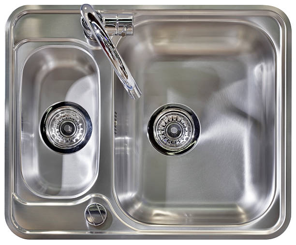 stainless steel ready to install sink  - kitchen sink stock photos and pictures
