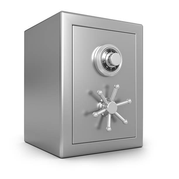 a stainless steel safe against a white background - brandkast beveiligingsapparatuur stockfoto's en -beelden