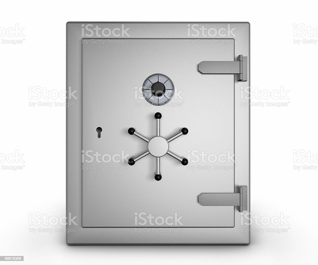 A stainless steel safe on a white background royalty-free stock photo