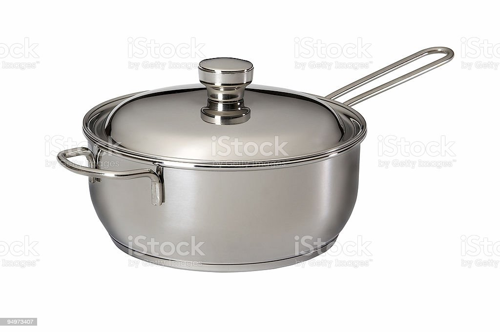 A stainless steel saucepan on a white background royalty-free stock photo