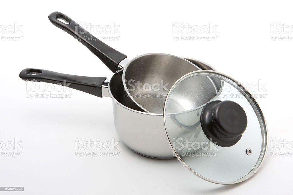 Stainless Steel Saucepans stock photo