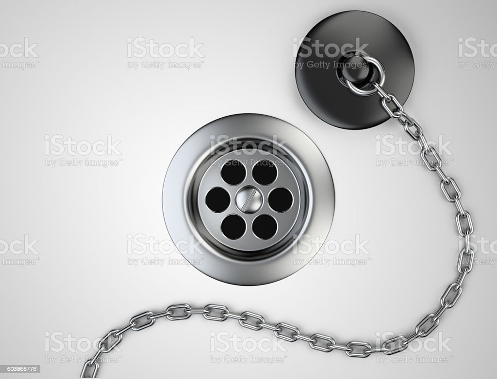 Stainless steel sink drain and rubber plug with chain stock photo