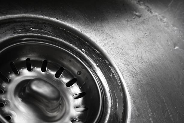 Stainless Steel Sink Drain Detail stock photo