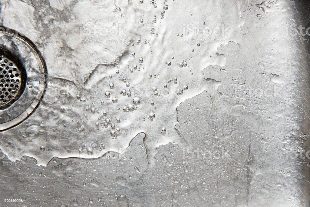 Stainless steel sink drain strainer stock photo