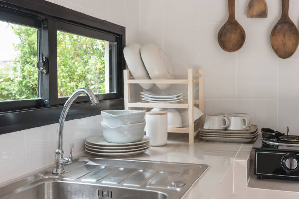 stainless steel sink with faucet stock photo