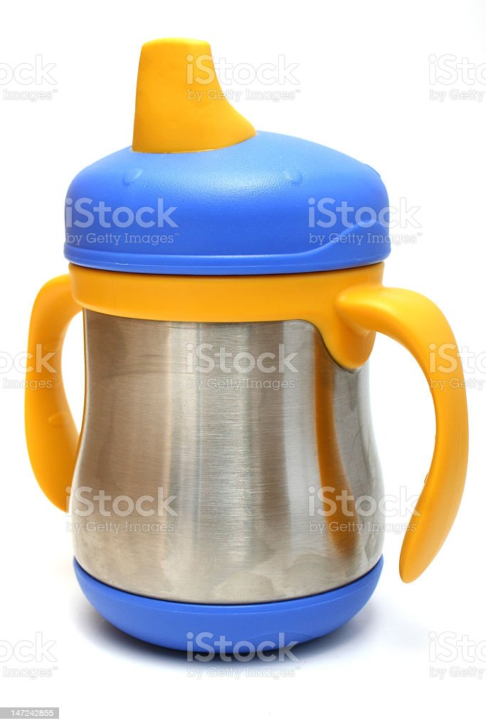 Stainless steel sippy cup stock photo