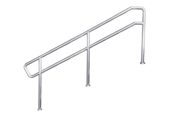 Stainless steel staircase railing. stock photo