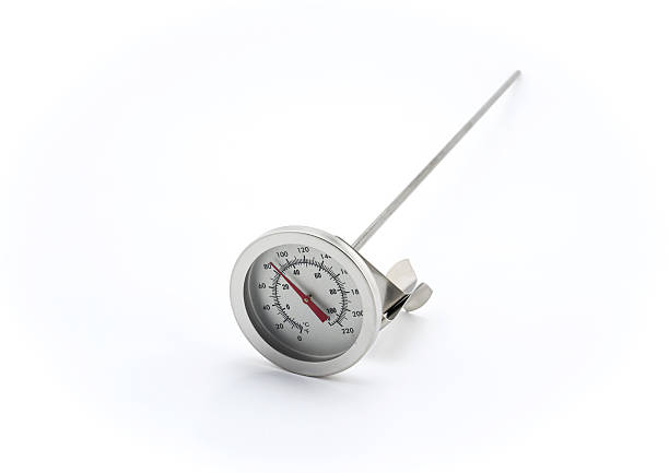 Stainless steel thermometer on white background stock photo