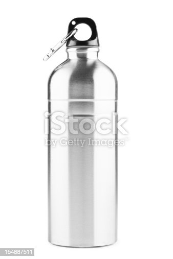 Stainless steel thermos bottle, isolated on white background, clipping path.
