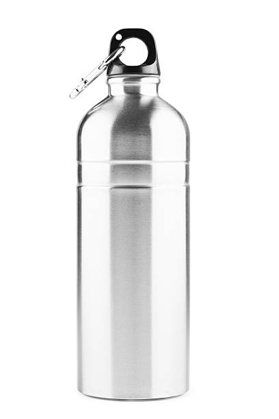 Stainless steel thermos bottle, isolated on white, clipping path stock photo