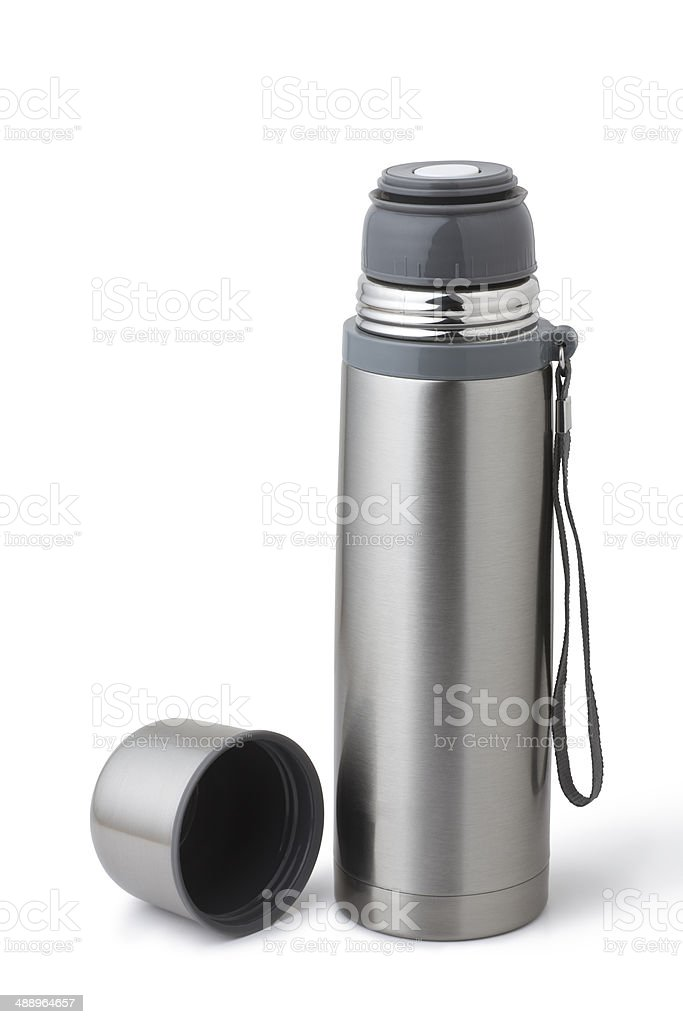 stainless steel thermos stock photo