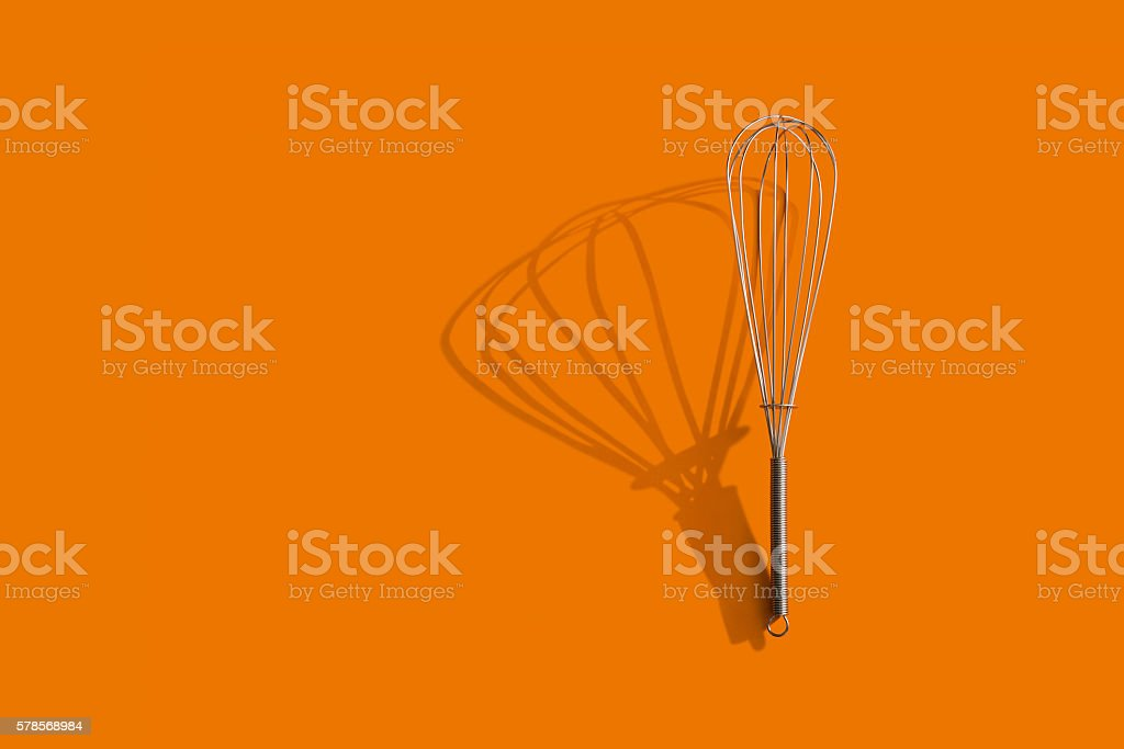 Stainless steel whisk stock photo