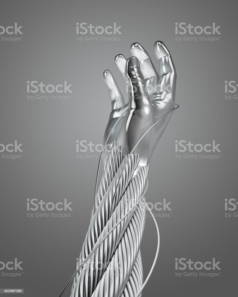 stainless steel wire cable hand stock photo