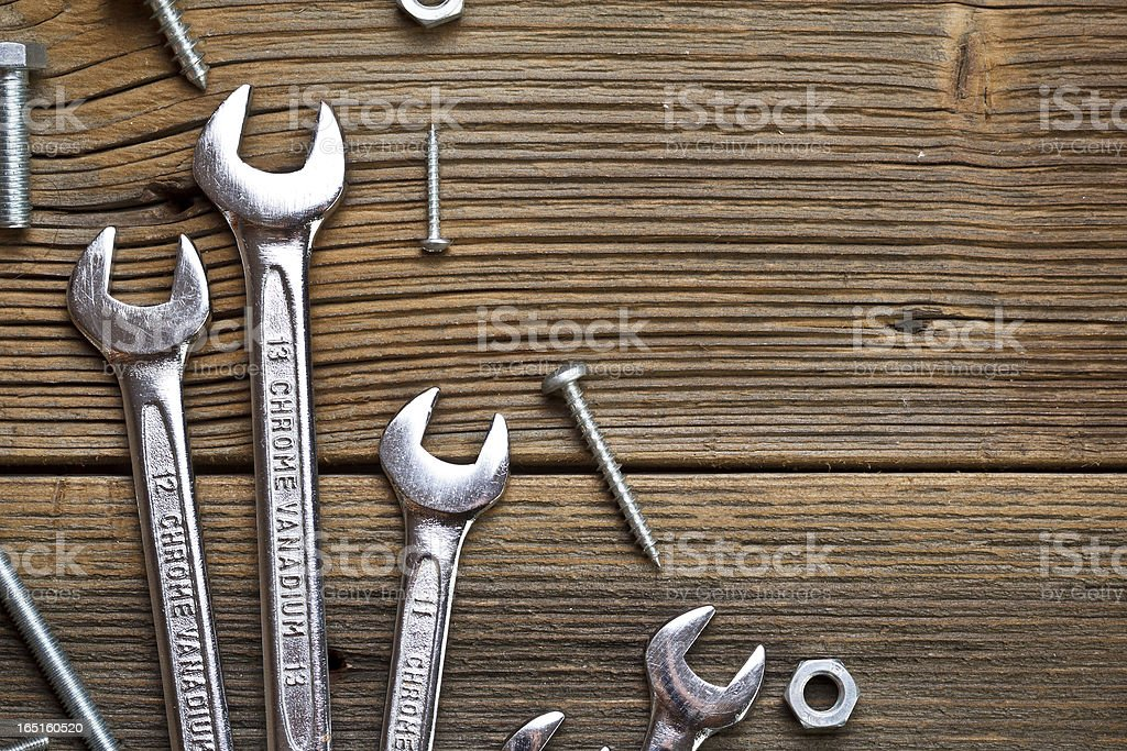 Stainless steel wrench royalty-free stock photo