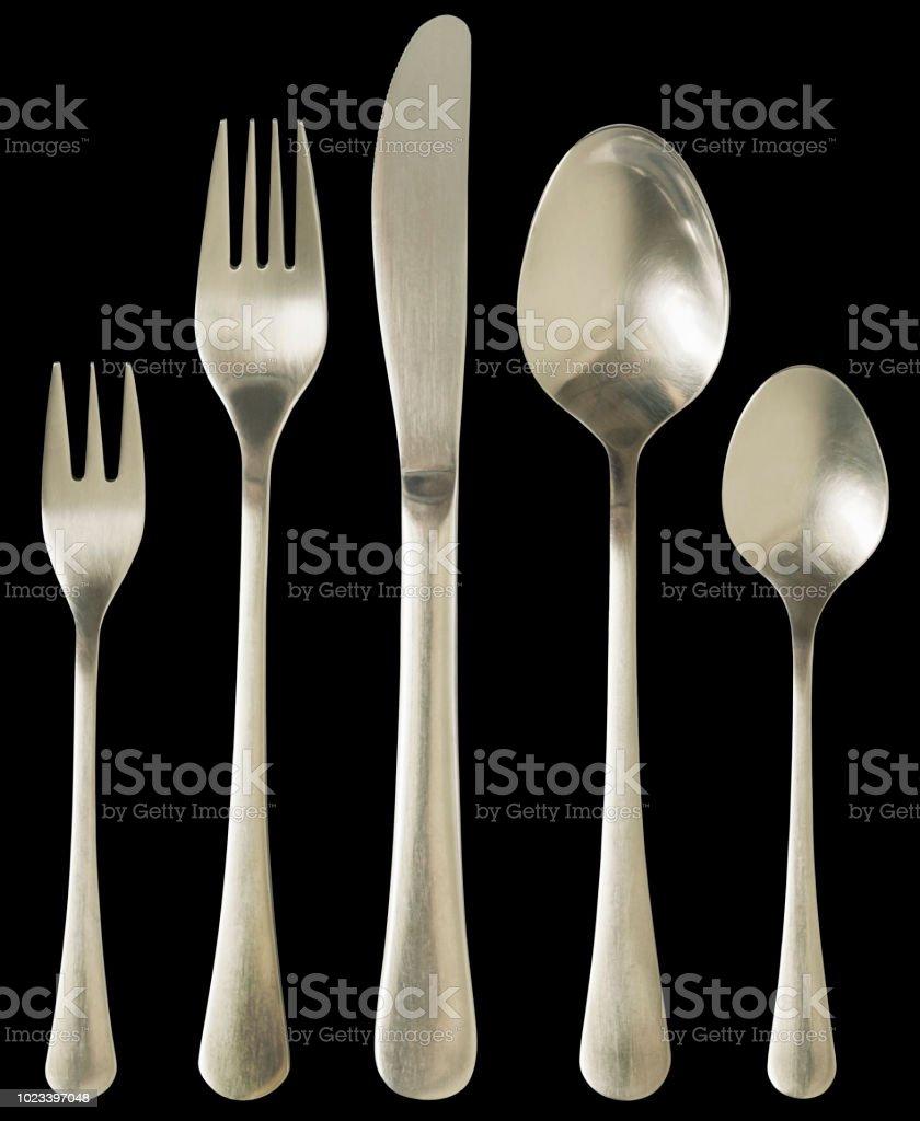 Stainless Still Cutlery Dinner Set Isolated on Black Background - Zbiór zdjęć royalty-free (Bez ludzi)