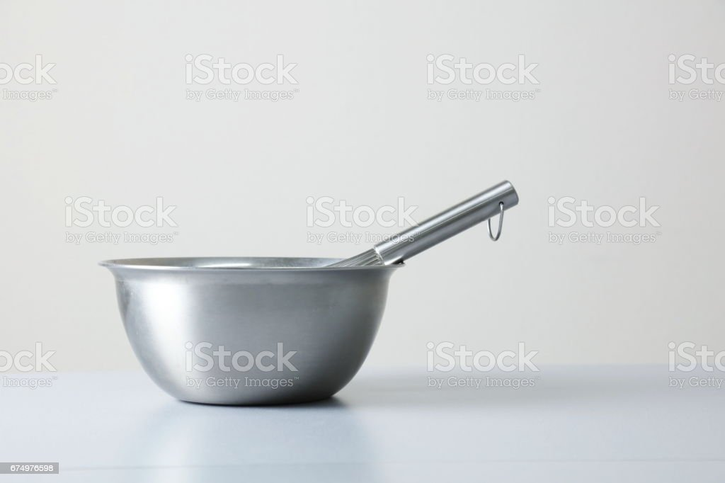stainless Whisk and stainless bowl on white background stock photo