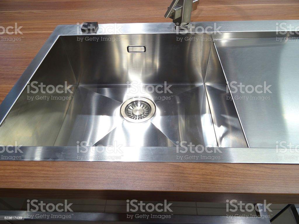 Stainlesssteel Kitchen Sink Single Basin Realwalnut Darkwood Worktop Counter Top Stock Photo Download Image Now Istock