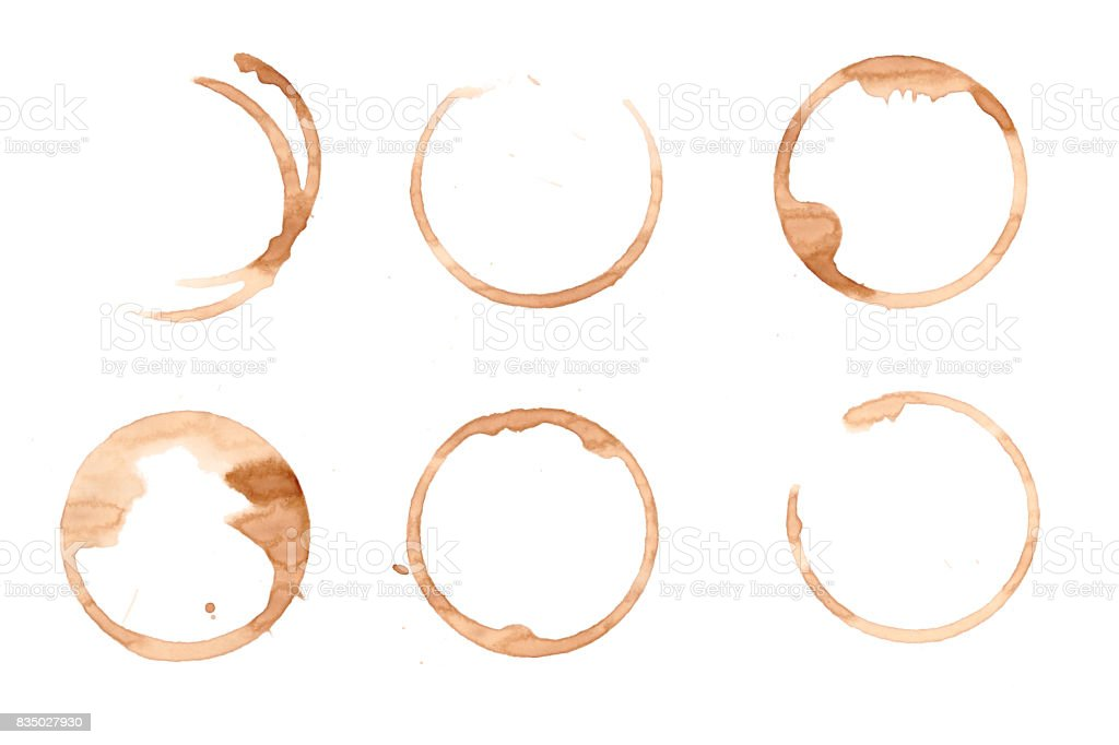 Stains of coffee and tea cup isolated stock photo