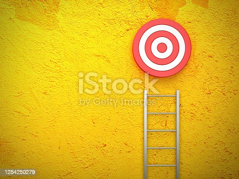 1014851458 istock photo Stair and Target on Yellow Wall Background - 3D Rendering 1254250279