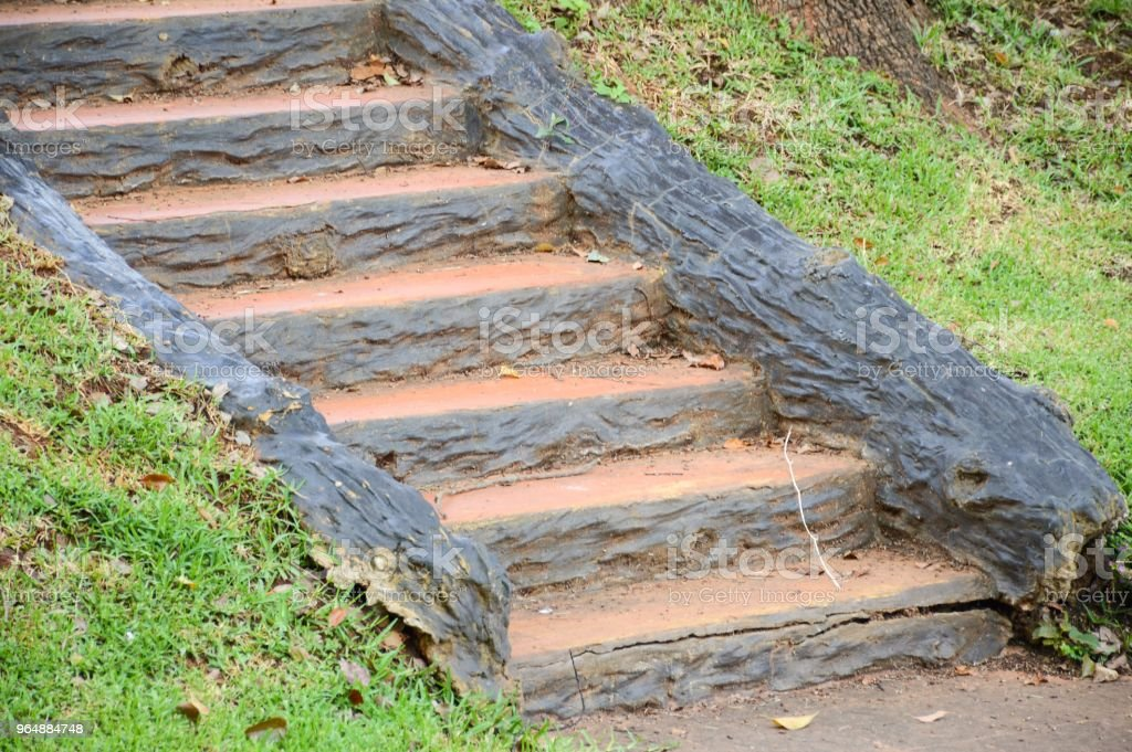 stair in nature garden at country Chiang Mai royalty-free stock photo