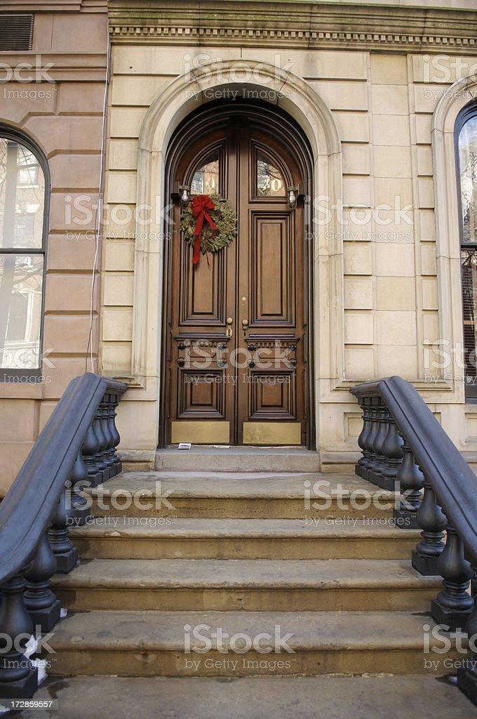 Stair rail in New York City stock photo