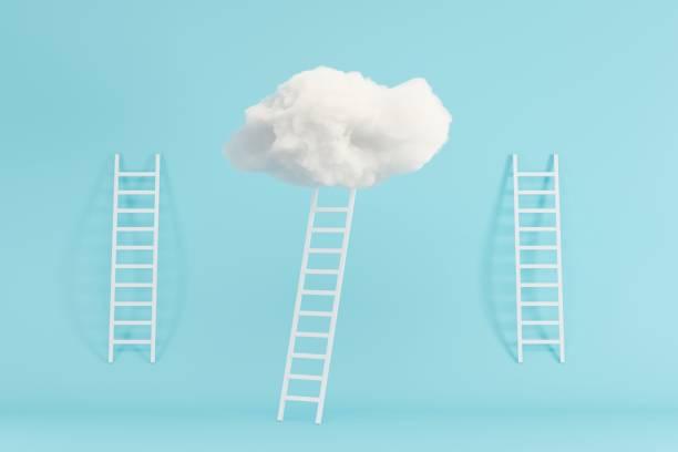 Treppe mit Wolke schweben auf blauem Raum Hintergrund. Minimal Creative Ideenkonzept. 3D-Rendern. – Foto