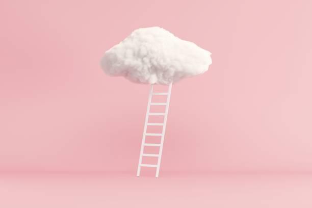 Treppe mit Wolke schweben auf rosa Raum Hintergrund. Minimal Creative Ideenkonzept. 3D-Rendern. – Foto