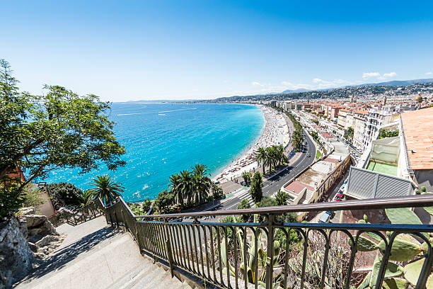 Staircase and bay of Nice, France stock photo