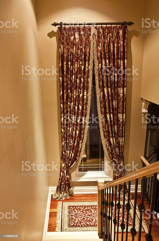 Staircase and drapes royalty-free stock photo