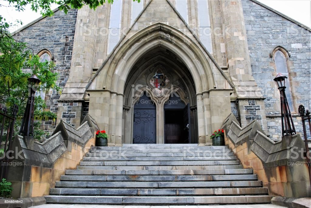 Staircase and front entrance, St. John the Baptist Anglican Cathedral, St. John's, Newfoundland and Labrador, Canada. stock photo
