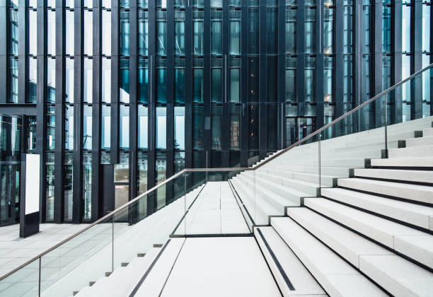 Staircase at modern office buildings area stock photo