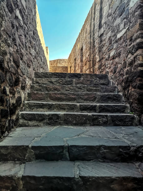 Staircase between stone walls without ceiling in Ankara fortress (Turkey) stock photo