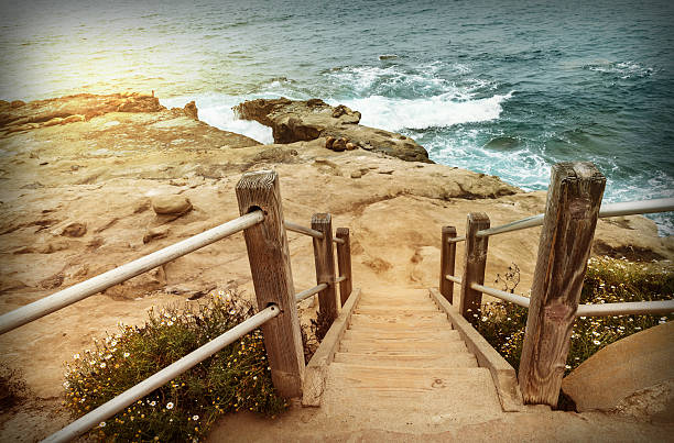 Staircase down to beach, California stock photo