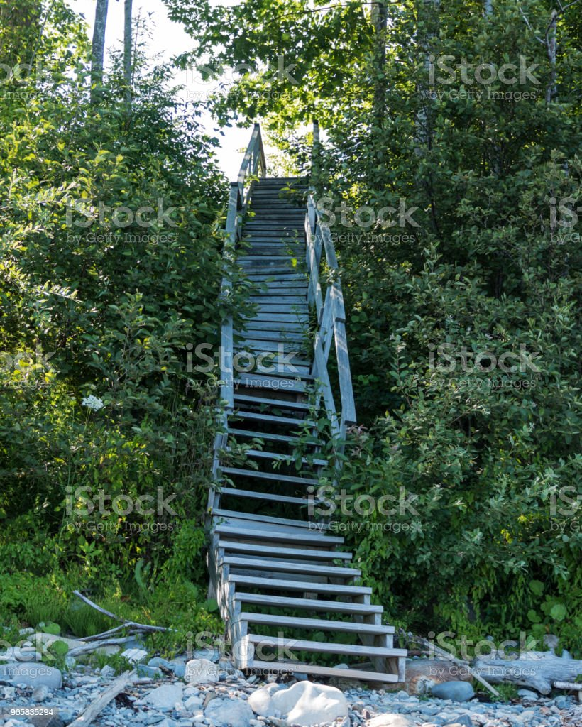 Staircase from beach up hill - Royalty-free Backgrounds Stock Photo