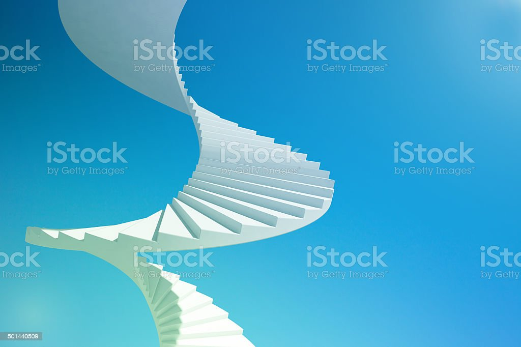 Spiral staircase going up to the sky, moving up to success: blue sky,...