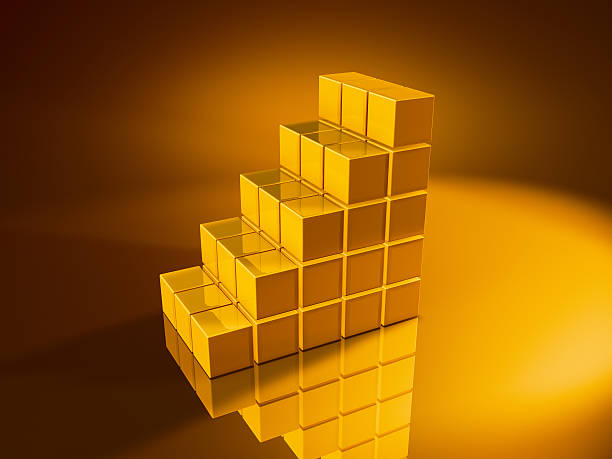 Staircase Golden Cubes 3D Render of a staircase built with pixelated golden cubes. Very high resolution available! Use it for Your own composings!Related images: golden cube stock pictures, royalty-free photos & images