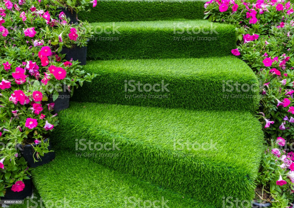 staircase green artificial grass stock photo