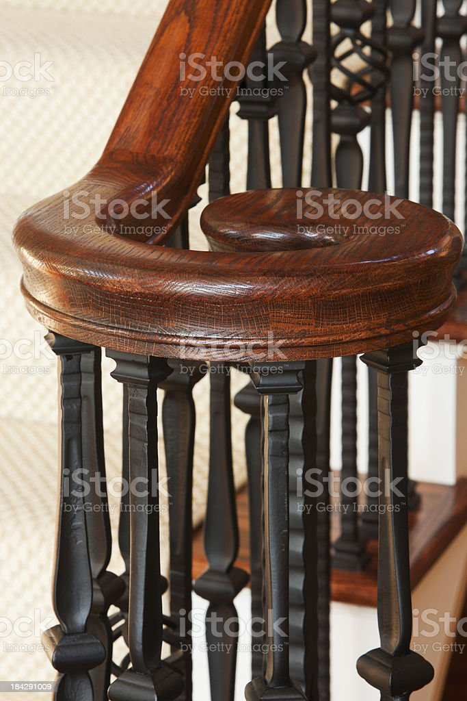 Staircase hand rail and banister detail in home. stock photo